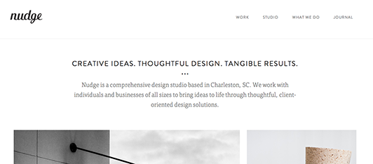 Nudge Studio's use of white space on their homepage.