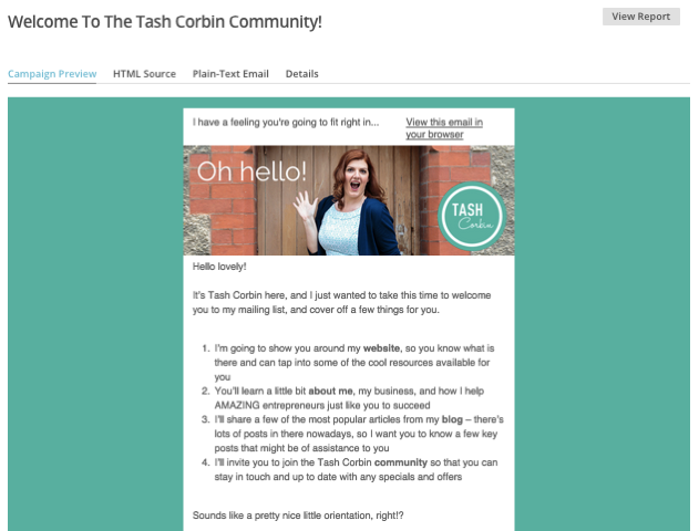 Welcome email example from Tash Corbin