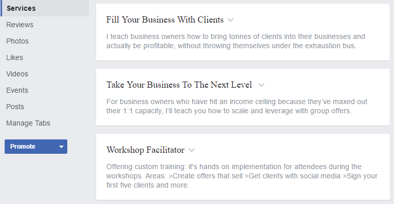 Showcase the services your business provides on your Facebook business page.