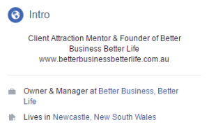 Add a brief summary of your skills to your Facebook personal profile intro.
